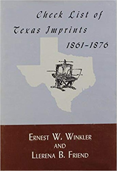 Check List of Texas Imprints, 1861–1876